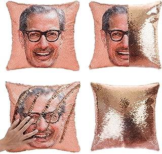 Merrycolor Mermaid Pillow Cover, Jeff Goldblum Magic Reversible Sequin Pillow Cover Throw Cushion Case Decorative Pillowcase That Change Color (J Jeff Goldblum #1- Gold Sequins)
