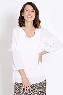 Rockmans 3/4 Sleeve Ruffle Blouse White 20 - Womens