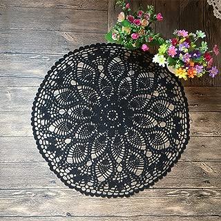 Mindplus 100% Cotton Hand Made Crochet Doilies 24 inches Round Black Vintage Wedding Tea Party