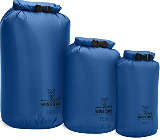Wise Owl Outfitters Dry Bag 3-Pack - Fully Submersible Ultra-Lightweight Airtight Waterproof Bags - Diamond Ripstop Polyester Roll-Top Sacks - 20L,10L, and 5L