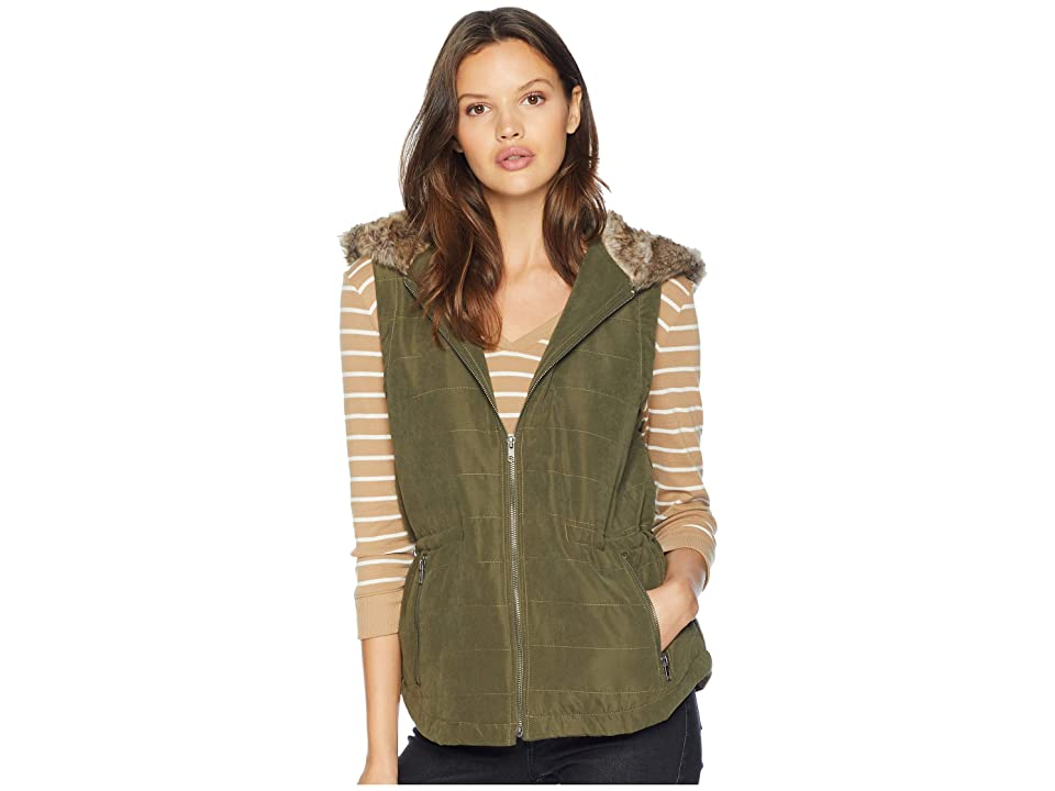 Jack by BB Dakota Hey-Ya Microfiber Vest with Fur Lined Hood (Olive Night) Women