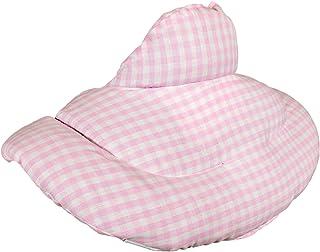 Cojín cervical térmico con cuello. Algodón biológico rosa-blanco. Almohada térmica cervical con semillas de grosella. Saco caliente y frio con semillas. Cojín de nuca