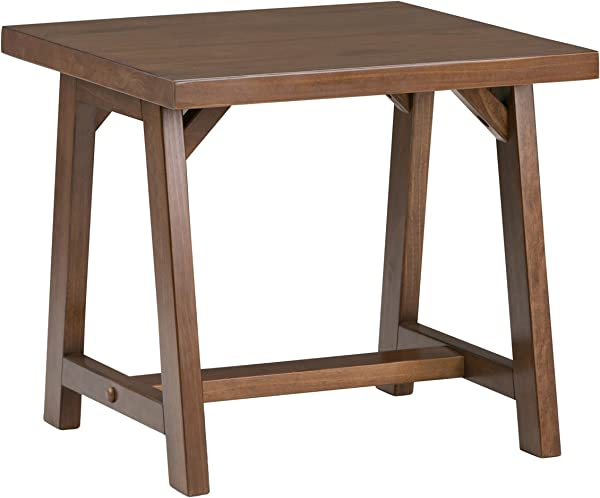 Simpli Home 3AXCSAW 02 Sawhorse Solid Wood 22 Inch Wide Square Modern Industrial End Side Table In Medium Saddle Brown