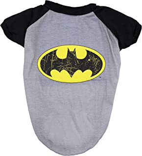 DC Comics Batman T-Shirt for Dogs | Batman Logo Dog Tee | Grey & Black, Large