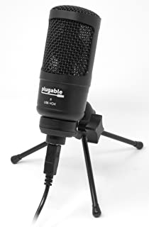 Plugable USB Studio Microphone - Podcast Microphone, Tripod Mounted Cardioid Condenser Microphone Optimized for Streaming TwitchMixerYouTubeDiscord (Compatible with Windows, macOS, Linux PCs)