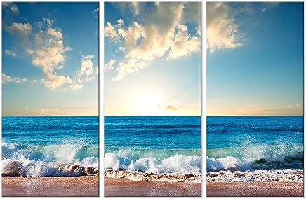 murando - Cuadro acústico Playa Mar 135x90 cm - Lienzo - 3 Piezas - Cuadros XXL