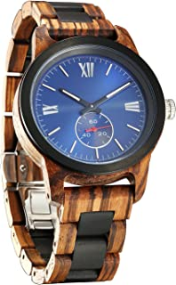 Mens Wooden Watch - Wood Grain Watch- Stainless Steel Bezel - Small Seconds Sub-dial - Premium Japanese Quartz Movement - Lightweight Watch - Men's Gift Ideas - Band Adjustment Tool Included