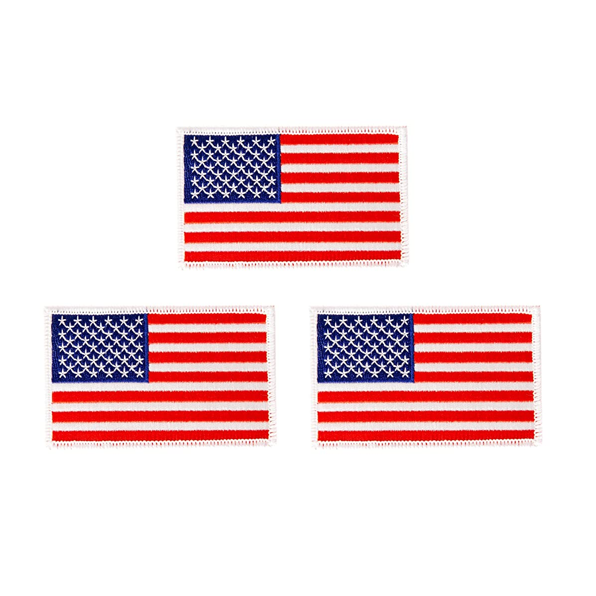 United States of America Flag Patch Bulk 3-Pack 3.5Wx2.25H State Iron On Sew Embroidered Tactical Morale Back Pack Hat Bags American USA (3-Pack Patch)
