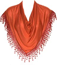 HatToSocks Triangle Scarf with Bobbin Lace Fringes for Women