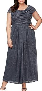 Alex Evenings womens Plus Size Long Cowl Neck A-line Dress