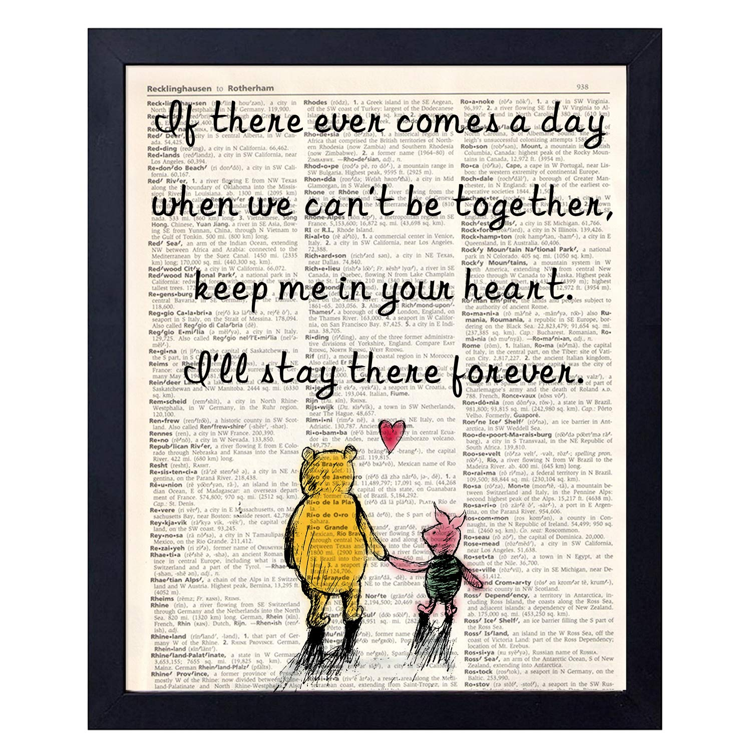 Amazon Com Akeke Classic Winnie The Pooh Best Friend Friendship Quote Vintage Book Art Prints Best Friend Birthday Gift 8x10 Unframed Art Poster If There Posters Prints