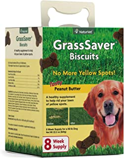 NaturVet – GrassSaver Biscuits for Dogs – Healthy Supplement to Help Rid Your Lawn of Yellow Spots – Enhanced with a Tasty Peanut Butter Flavor
