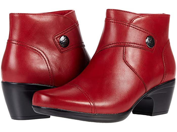 Vintage Shoes, Vintage Style Shoes Clarks Emily Calle Red Leather Womens Boots $129.95 AT vintagedancer.com