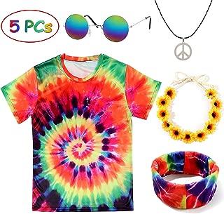 Tacobear Hippie Disfraz Mujer Hombre Gafa Hippie Collar Hippie Hippie T-Shirt Hippie Diadema Girasol Diadema Hippie Accesorios per Fiesta Party Carnaval (XXXL)