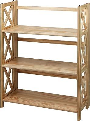 Casual Home Montego 3-Shelf Folding Bookcase, Natural
