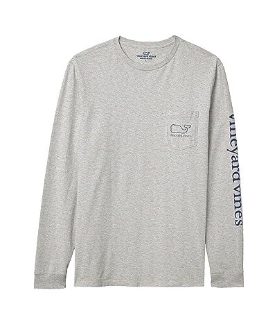 Vineyard Vines Long Sleeve Whale Pocket T-Shirt (Gray Heather) Men