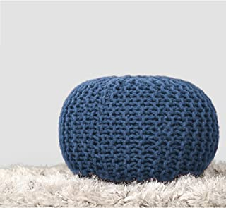 RAJRANG BRINGING RAJASTHAN TO YOU Blue Pure Stuffed Pouf Hand Knitted Braided Cotton Cord Round Ottoman Small Space Bedroom Decorative Seating, D-20 x H-14 inch,