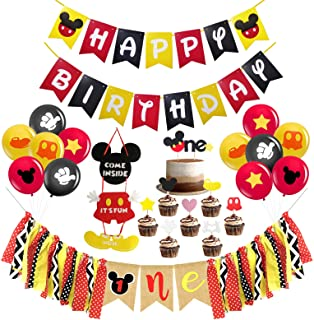 Mickey Mouse First Birthday Party Decorations , Mickey Mouse Happy Birthday Banner, Mickey Mouse One Highchair Banner, The One Cake Topper and 12 Pcs Latex Balloons for Baby Gilr Boy Mickey Mouse Theme 1st Birthday Party Supplies Decorations