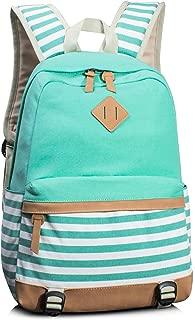 Navy Style School Laptop Backpack Girls Canvas Bookbag Water Blue