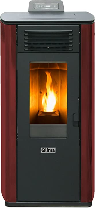 Stufa a pellet fiorina 74 s-line potenza termica 7.45 kw 200 m3 riscaldabili colore rosso qlima FIORINA74S-LINE