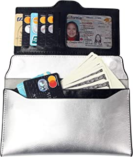 Womens Leather Ultra Slim Wallet - VOCUS Envelope Clutch Wallet Minimalist Cellphone Credit Card Holder (Silver)