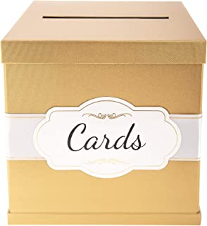 """Gold Card Box - White/Gold-Foil Satin Ribbon & Cards Label - 10""""x10"""" Large Perfect for Money & Gifts at Wedding Receptions..."""