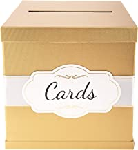 Gold Card Box - White/Gold-Foil Satin Ribbon & Cards Label - 10