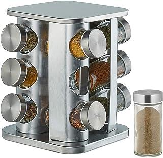 Relaxdays 10032727 Tourniquet à épices, avec 12 Pots, étagère rotative à 360°, INOX, Verre, HxD 22 x 19 cm, carrousel, Argent
