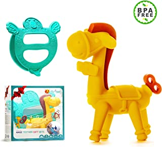Ange Unique Baby Shower Gifts- Teething Giraffee Toy For Carrier and Horse Teether BPA -FREE (Set of 2)