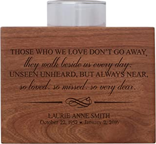 """LifeSong Milestones Personalized Memorial Sympathy Votive Candle Holder Cherry Wood Keepsake Gift Ideas for Loved One 3.75"""" x 3.75"""" x 2.75 (Those We Love Don't Go)"""