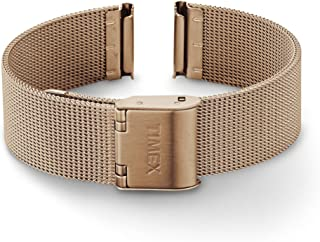Timex 16mm Stainless Steel Mesh Bracelet – Rose Gold-Tone with Self-Adjust Clasp