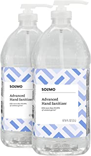 Amazon Brand - Solimo Advanced Hand Sanitizer with Vitamin E, Original Scent, Pump Bottle, 2 Liters (Pack of 2)