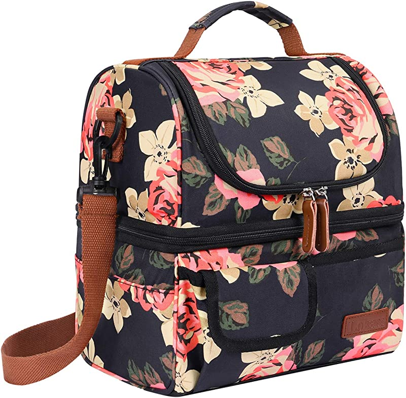 UtoteBag Insulated Lunch Bag For Women Double Deck Nylon Lunch Box Leakproof Cooler Bag Reusable Cooler Box Fashionable Lunch Organizer With Removable Shoulder Strap Peony