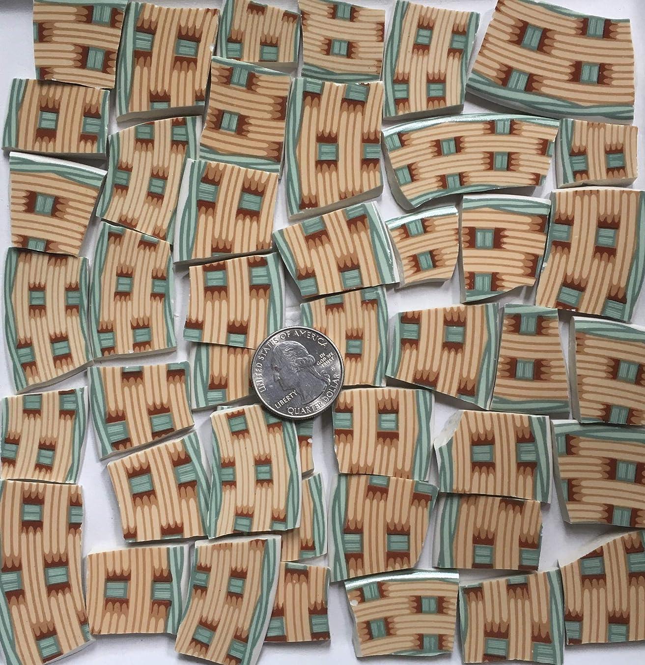 Mosaic Art & Craft Supply ~ Green Beige & Brown Basket Weave Tiles (T#A111)