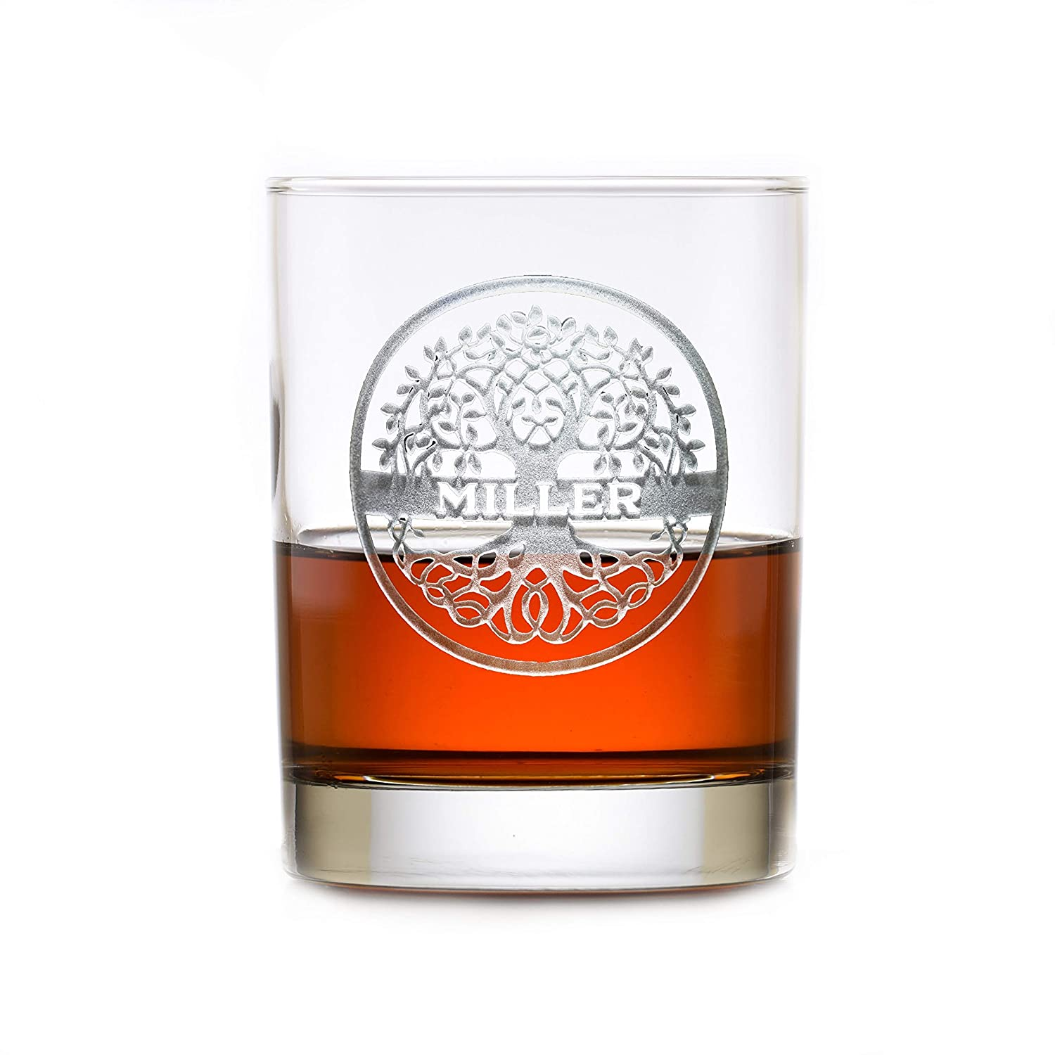 Family Tree Engraved Whiskey Rocks Set Glass 2 shipfree Gift Max 52% OFF Of