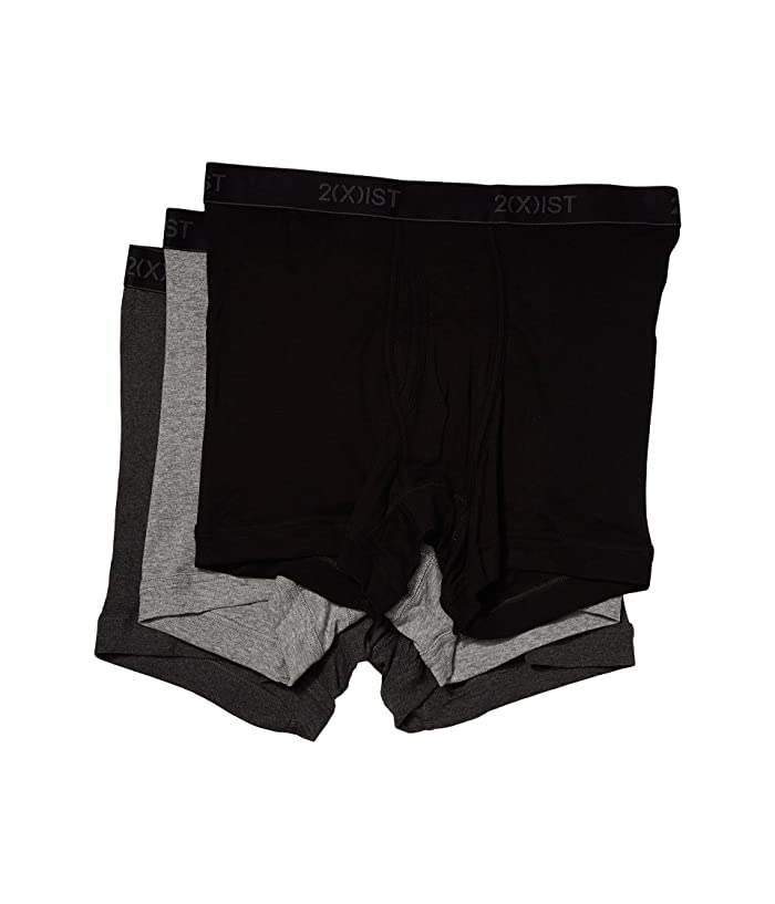 2(X)IST  3-Pack ESSENTIAL Boxer Briefs (Black/Grey Heather/Charcoal Heather) Mens Underwear