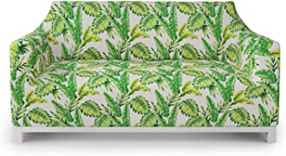 Ambesonne Jungle Furniture Slipcover, Bamboo Palm Plants Jungle Colored Exotic Leaf Foliage Tropical Forest Theme, Stretch Couch Cover Decorative 1 Piece Protector, Loveseat, Lime and Fern Green
