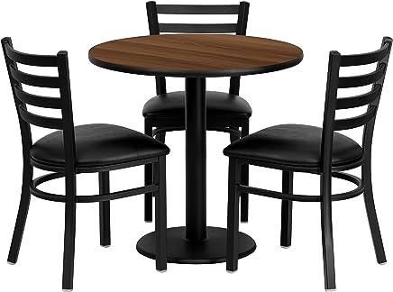 Flash Furniture 30'' Round Walnut Laminate Table Set with 3 Ladder Back Metal Chairs - Black Vinyl Seat