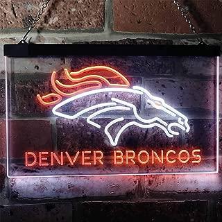 ZAKAKU Denver Broncos Football Bar Two Color LED Neon Sign White and Orange w16 x h12