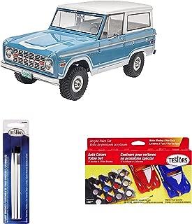 Bundle Includes 3 Items - Revell Ford Bronco Plastic Model Kit and Testors Nylon Paint Brush, Set of 3 and Testors Model Car Acrylic Paint Pot Set