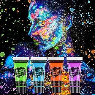 AGPTEK Barn sminkset, 16 sminkfärger, 4 UV fluorescerande pigment, 2 hårfärgningar, 2 konst tatuering målarpennor och 2 as...