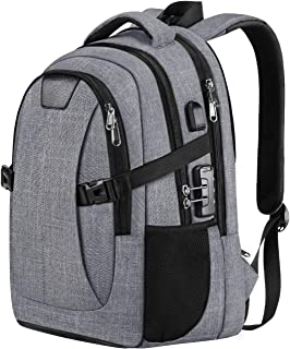 PICTEK Laptop Backpack School Backpack, Anti Theft Travel Business Backpack with USB Charging Port and Lock, 30L Waterproof College Laptop Bag with Rain Cover for Women/Men fits 15.6 Inch Laptops