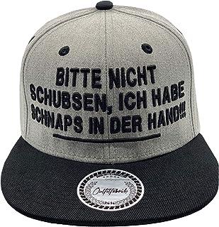 Outfitfabrik Snapback Cap Bitte Nicht schubsen, ich Habe Schnaps in der Hand in grau/schwarz mit 3D-Stick Festival, Alkohol, Statement, Saufen