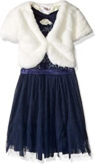 فستان Beautees للفتيات مكون من قطعتين من جاكيت من الفرو الصناعي على شكل زهور