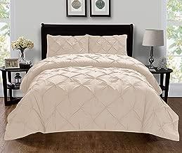 Elegant Comfort Luxury Super King/California King Beige 401RW-Pintuck-Duvet-K-Cream