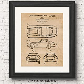 Original Mercedes Benz 300SL Gullwing Patent Art Poster Prints, Set of 1 (11x14) Unframed Photo, Great Decor Gifts Under 15 for Home, Office, Garage, Man Cave, Student, Teacher, Cars & Coffee Fan
