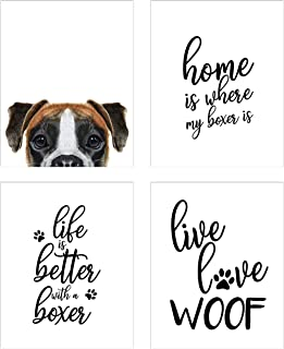 Summit Designs Boxer Wall Art Décor Prints – Set of 4 (8x10) Unframed Poster Photos – Dog Puppy Quotes