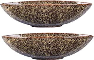Hosley Set of 2 Decorative Oval Ceramic Bowl Peacock Feather Pattern 14.5 Inch Long. Bowl for Orbs and Potpourri. Ideal Gi...