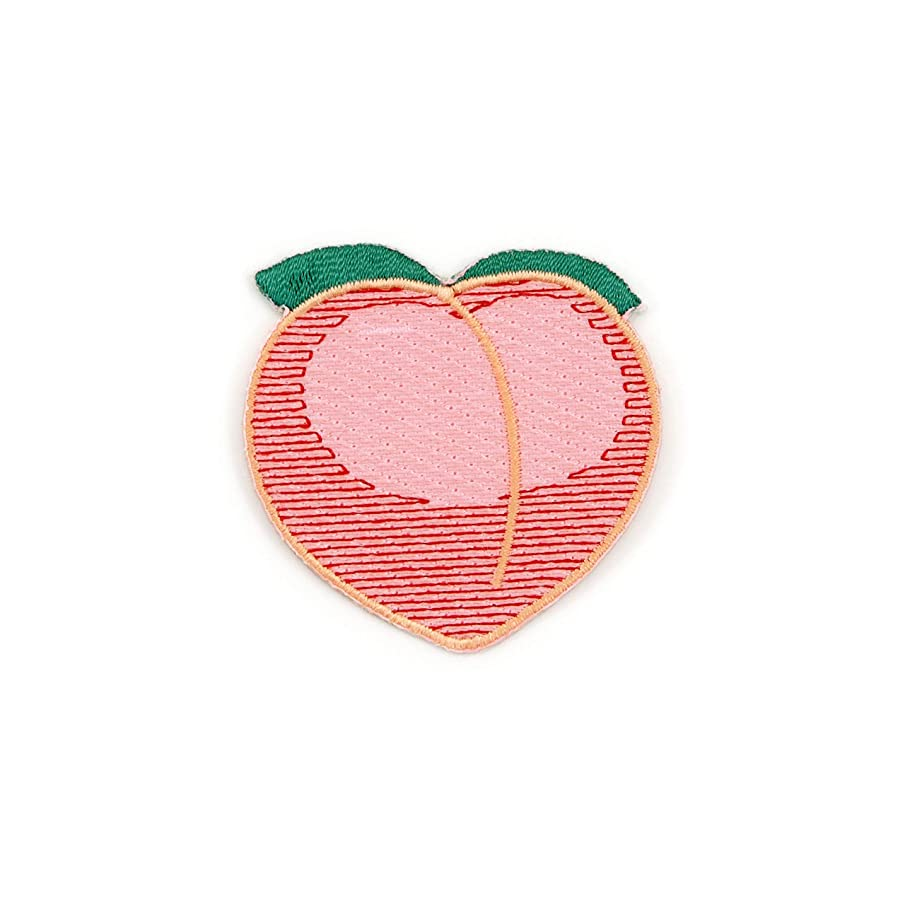 Winks For Days Peach Emoji Embroidered Iron-On Patch