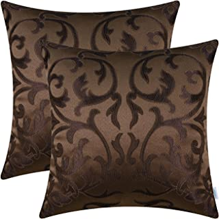 CaliTime Pack of 2 Throw Pillow Covers Cases for Couch Sofa Home Decoration Vintage Floral Two Tone Contrast Both Sides 18 X 18 Inches Coffee